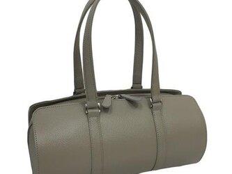 オール牛革 本革バッグ 筒型 ボストンバッグ 軽量 リアル シュリンクレザー グレージュの画像