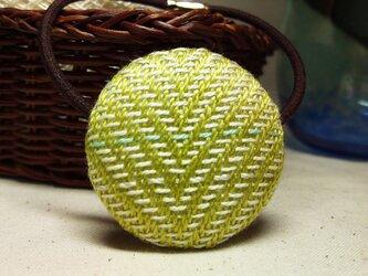 手織り布 ヘアゴム 黄緑×白×ミントグリーンの画像