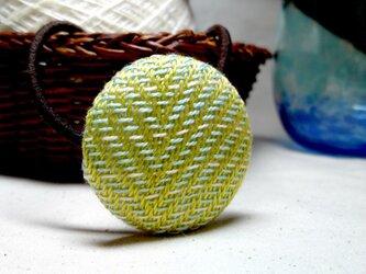 手織り布 ヘアゴム 黄緑×ミントグリーン×白の画像