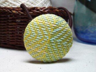 手織り布 ヘアゴム 黄色×黄緑×ミントグリーン×白の画像