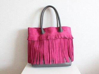 革のフリンジバック / ピンクの画像