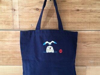 ラッコ&カモメ 刺繍&チャーム トート(大)の画像