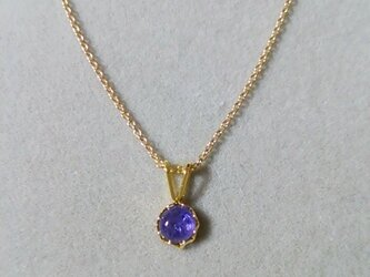 宝石質タンザナイトカボションチャームネックレス(5ミリ)の画像