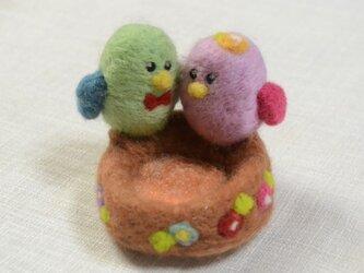 小鳥の小物入れ(羊毛フェルト)の画像