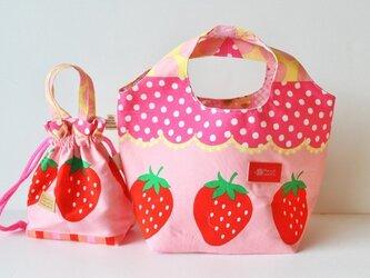 カワイイ~苺のころりんバッグ&巾着の2点セットの画像