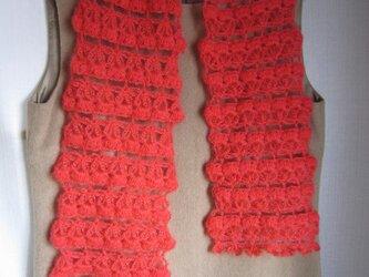 赤モヘアかぎ針編みマフラーの画像