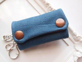 【定番ブルー】ぶた革やわらかキーケース【受注生産】青レザーの画像
