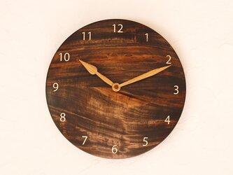 掛け時計 丸 とち材②の画像