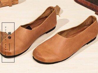 【受注製作】ゆるカーブ 100%牛革縫製ぺたんこ靴、丸トウ キャラメル KT73860の画像