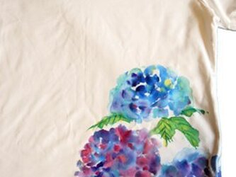 美しい梅雨に♪ あじさいシャツ 特注手描きTシャツの画像