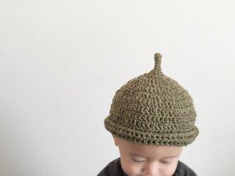 【受注製作】オーガニックコットンガラ紡糸ロールどんぐり帽子(カーキ)Mの画像