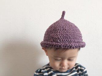 【受注製作】オーガニックコットンガラ紡糸ロールどんぐり帽子(パープル)Mの画像