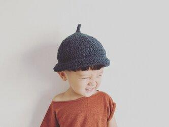 【受注製作】オーガニックコットンガラ紡糸ロールどんぐり帽子(ネイビー)Mの画像