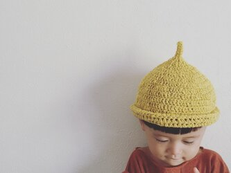 【受注製作】オーガニックコットンガラ紡糸ロールどんぐり帽子(イエロー)Mの画像