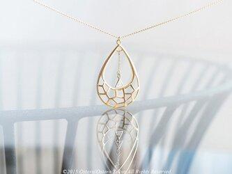 【14KGF】Necklace,Matt Gold Teardrop,Triangle CZの画像