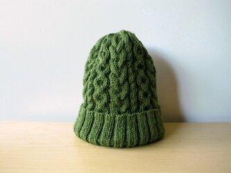 アランニット帽・グリーン●受注生産●の画像