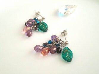 ぶどうピアス シルバー925 shining grape earrings【ESMÉ】の画像