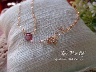 宝石質ピンクトパーズブリリアントカット一粒ネックレスk14gfの画像