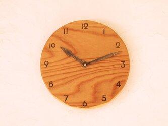 掛け時計 丸 けやき材35の画像