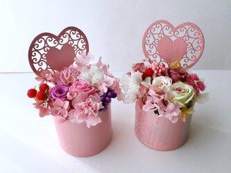 ご結婚お祝いやリングピロー♡ハート薔薇ミニアレンジの画像