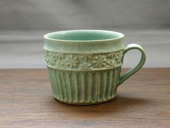 錆青磁釉 マグカップ(貼花)の画像