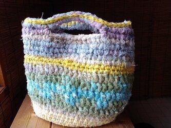 ざっくりコットンの裂き編みバッグの画像