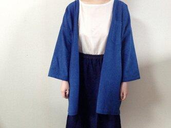 藍染めの上着 春の羽織りコート 刺し子の画像