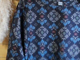 着物リメイク 大島紬 浅葱色の花肩落ちギャザーOPの画像