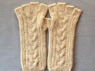 【受注後製作】手袋アルパカ×ラムウールアイボリー系(M)の画像