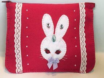 フェルトのポーチ「ウサギのピンクのポーチ」の画像