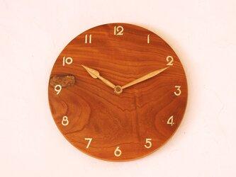 掛け時計 丸 けやき材20の画像