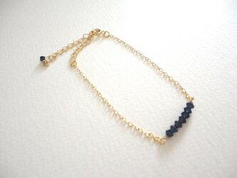 [NAVY BLUE]スワロフスキーの極小ブレスレットの画像