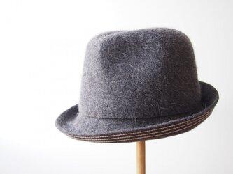 Stitched Soft Hat - grey × whiteの画像
