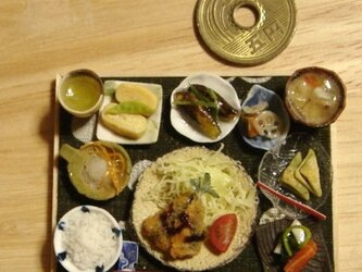 ★あじフライ定食御膳(ひょうたん柄・深緑)の画像