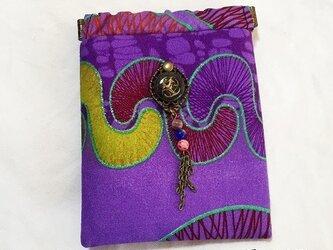 バネポーチ/バネ小物入れ/紫色  アフリカンプリント生地の画像