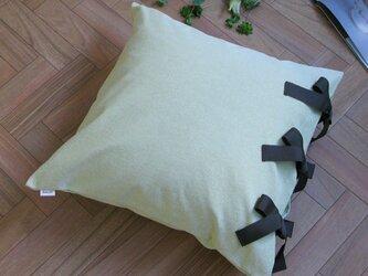 【カバーのみ】canvas chambray クッションカバー ribbon SQの画像