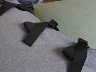 canvas chambray クッションセット ribbon SQ  (カバー+ヌードクッション)の画像