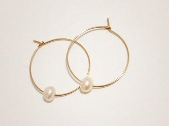 14kgf【jewelry series】fresh water pearl ×hoopの画像