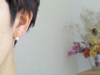 ピアスに見えるイヤリング☆パールビーズのノンホールピアス☆クリップピアス☆結婚式・プレゼントの画像