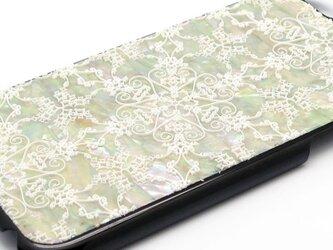 iPhone7/6/6sケース 天然貝仕様(星のかけら・黒カバー)<螺鈿アート>の画像