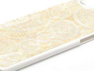iPhone7Plus/6Plus/6sPlusケース 天然貝仕様(ホワイトレース・白カバー)<螺鈿アート>の画像