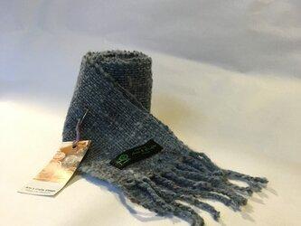 ホームスパン ウールミニマフラー 藍染めの画像