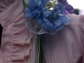 羽二重のブルーと紫のパンジー A-23の画像