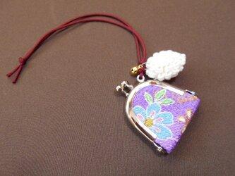 ちりめん豆がま口*淡紫×花の画像