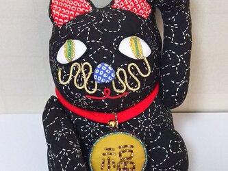 招き猫 (もみじ黒)の画像