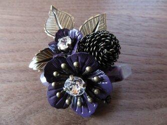 【SALE】アメジストと紫のお花ブローチBの画像