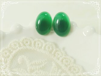 *P166*天然石グリーンオニキスAAA(オーバル型)☆大粒ピアスの画像