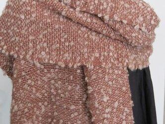 草木染アルパカふわふわループ手織りショール(茜色)の画像
