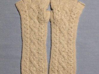 【受注後製作】手袋アルパカ×ラムウールベージュ系(M)の画像