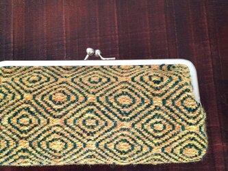 手織りウールのガマ口ポーチ(m&w)の画像